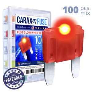 CARAX Glow Fuse. MINI Blade Mix Kit 100 pcs. Small/APM/ATM Blade Fuse.