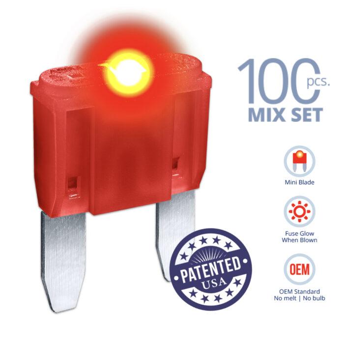CARAX Glow Fuse. MINI Blade Mix Kit 100 pcs. Small/APM/ATM Blade Fuse.