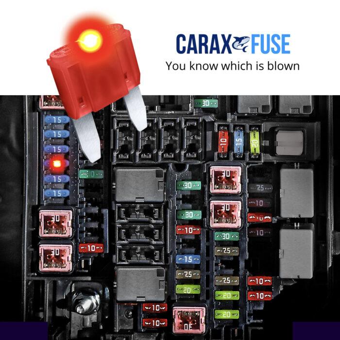CARAX Glow Fuse. Smart Automotive MINI Fuse. Easy Identification LED Light Fuse