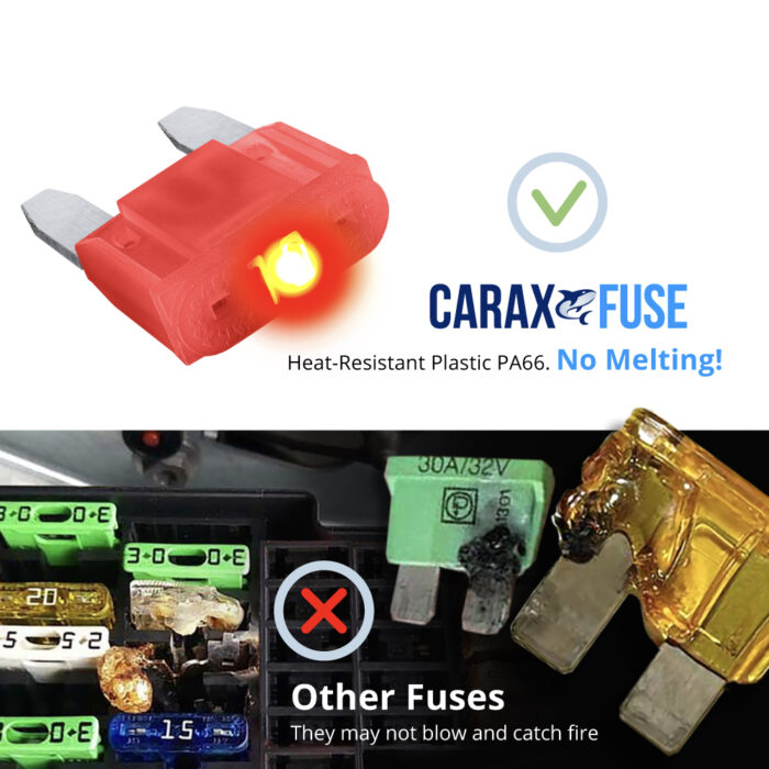 CARAX Glow Fuse. Mini Blade Fuse - No Melting. High-Quality Materials. Heat-Resistant