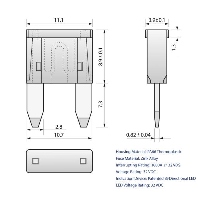 CARAX Glow Fuse. Mini Blade Fuse Drawing. Automotive Smart LED Glow Fuse