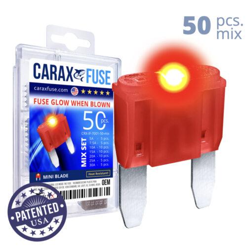 CARAX Glow Fuse. MINI Blade Mix Kit 50 pcs. Small/APM/ATM Blade Fuse.