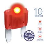 CARAX Glow Fuse. MINI Blade Mix Kit 10 pcs. Small/APM/ATM Blade Fuse.