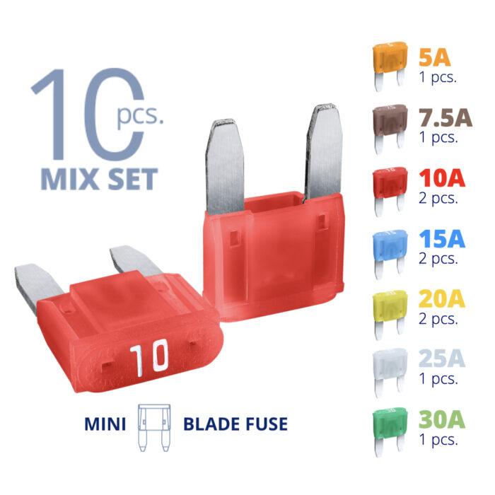 CARAX Glow Fuse. Smart MINI Mix Fuse 10 pcs.: 5A, 7.5A, 10A, 15A, 20A, 25A, 30A