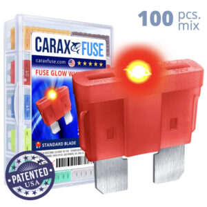 CARAX Glow Fuse. STANDARD Blade Mix Kit 100 pcs. REGULAR/APR-ATS/ATC/ATO Blade Fuse.