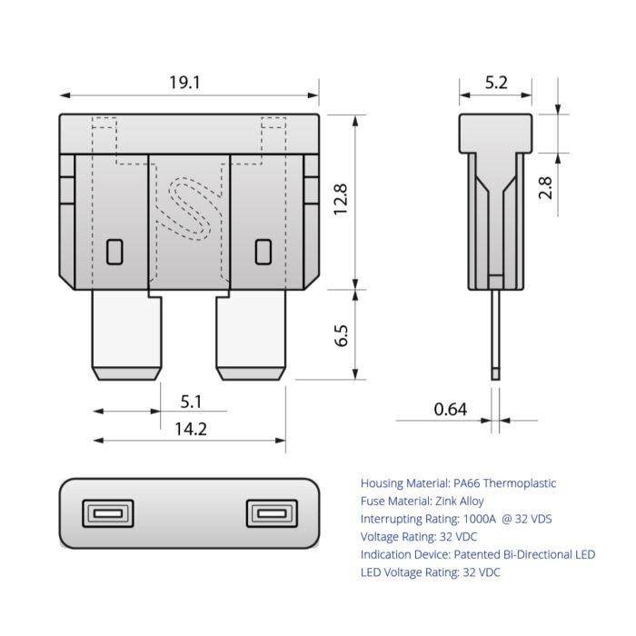 CARAX Glow Fuse. STANDARD Blade Fuse Drawing. Automotive Smart LED Glow Fuse