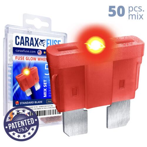 CARAX Glow Fuse. STANDARD Blade Mix Kit 50 pcs. REGULAR/APR-ATS/ATC/ATO Blade Fuse.