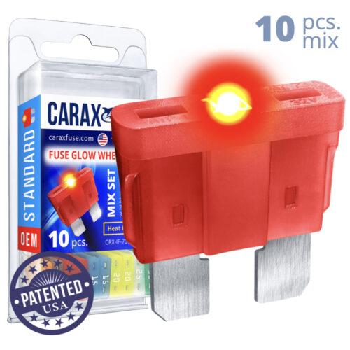 CARAX Glow Fuse. STANDARD Blade Mix Kit 10 pcs. REGULAR/APR-ATS/ATC/ATO Blade Fuse.