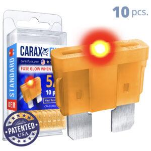 CARAX Glow Fuse. STANDARD Blade 5A Set 10 pcs. REGULAR/APR-ATS/ATC/ATO Blade Fuse.