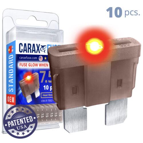 CARAX Glow Fuse. STANDARD Blade 7.5A Set 10 pcs. REGULAR/APR-ATS/ATC/ATO Blade Fuse.