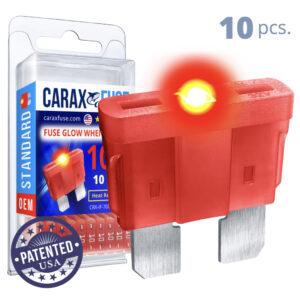 CARAX Glow Fuse. STANDARD Blade 10A Set 10 pcs. REGULAR/APR-ATS/ATC/ATO Blade Fuse.