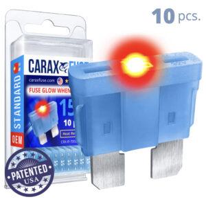 CARAX Glow Fuse. STANDARD Blade 15A Set 10 pcs. REGULAR/APR-ATS/ATC/ATO Blade Fuse.