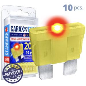 CARAX Glow Fuse. STANDARD Blade 20A Set 10 pcs. REGULAR/APR-ATS/ATC/ATO Blade Fuse.