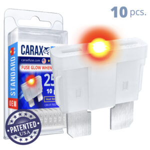CARAX Glow Fuse. STANDARD Blade 25A Set 10 pcs. REGULAR/APR-ATS/ATC/ATO Blade Fuse.