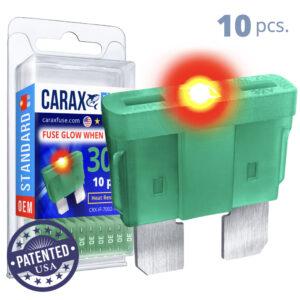 CARAX Glow Fuse. STANDARD Blade 30A Set 10 pcs. REGULAR/APR-ATS/ATC/ATO Blade Fuse.