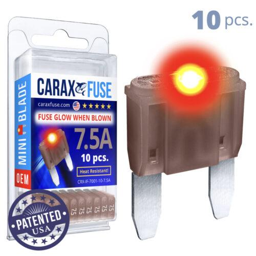 CARAX Glow Fuse. MINI Blade Kit 7.5A 10 pcs. Small/APM/ATM Blade Fuse.