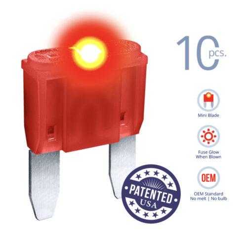 CARAX Glow Fuse. MINI Blade Kit 10A 10 pcs. Small/APM/ATM Blade Fuse.