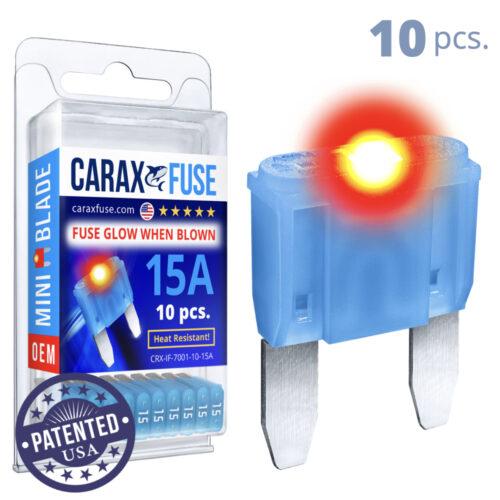 CARAX Glow Fuse. MINI Blade Kit 15A 10 pcs. Small/APM/ATM Blade Fuse.