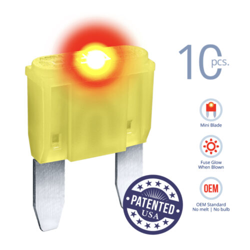 CARAX Glow Fuse. MINI Blade Kit 20A 10 pcs. Small/APM/ATM Blade Fuse.