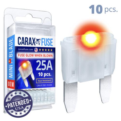 CARAX Glow Fuse. MINI Blade Kit 25A 10 pcs. Small/APM/ATM Blade Fuse.