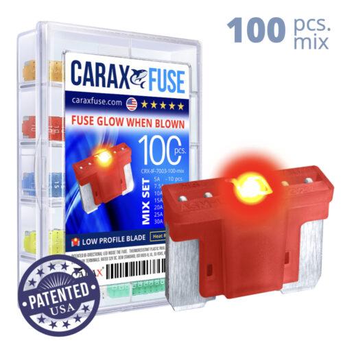 CARAX Glow Fuse. LOW PRIFILE Blade Mix Kit 100 pcs. MICRO/SUPER MINI/APS-ATT Blade Fuse.