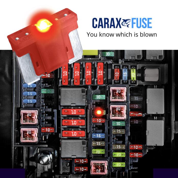 CARAX Glow Fuse. Smart Automotive LOW PRIFILE MICRO Fuse. Easy Identification LED Light Fuse