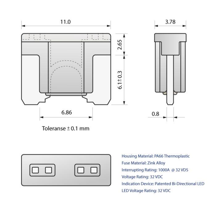 CARAX Glow Fuse. LOW PRIFILE MICRO Blade Fuse Drawing. Automotive Smart LED Glow Fuse