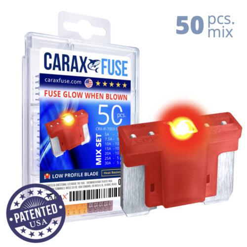 CARAX Glow Fuse. LOW PRIFILE Blade Mix Kit 50 pcs. MICRO/SUPER MINI/APS-ATT Blade Fuse.