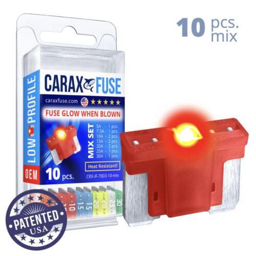 CARAX Glow Fuse. LOW PRIFILE Blade Mix Kit 10 pcs. MICRO/SUPER MINI/APS-ATT Blade Fuse.
