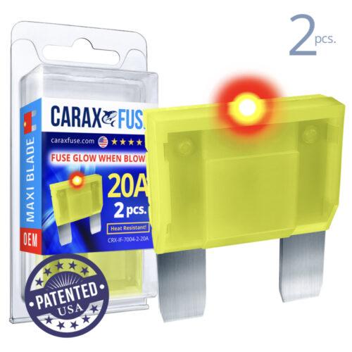 CARAX Glow Fuse. MAXI Blade 20A Set 2 pcs. LARGE/AMP/ATC/ATO Blade Fuse.