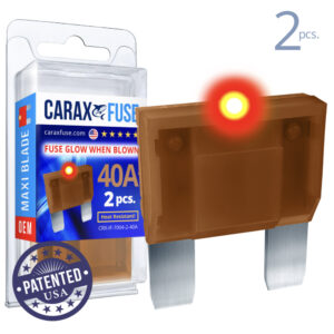 CARAX Glow Fuse. MAXI Blade 40A Set 2 pcs. LARGE/AMP/ATC/ATO Blade Fuse.