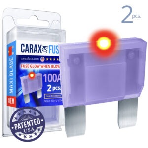 CARAX Glow Fuse. MAXI Blade 100A Set 2 pcs. LARGE/AMP/ATC/ATO Blade Fuse.