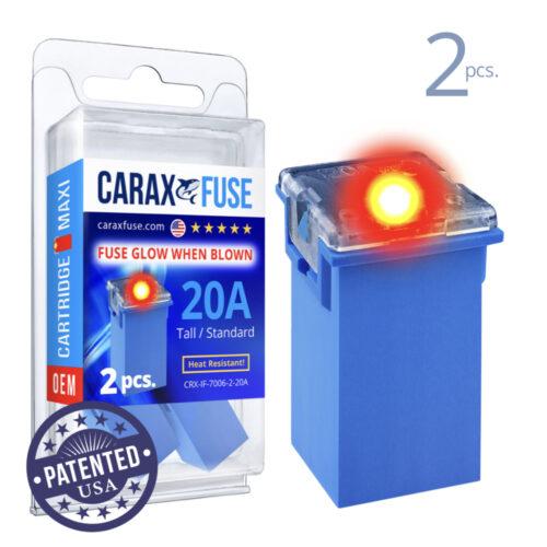 CARAX Glow Fuse. CARTRIDGE MAXI 20A Set 2 pcs. TALL/STANDARD/FEMALE/FMX Fuse.
