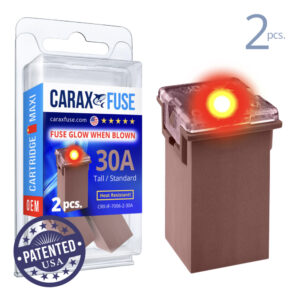 CARAX Glow Fuse. CARTRIDGE MAXI 30A Set 2 pcs. TALL/STANDARD/FEMALE/FMX Fuse.