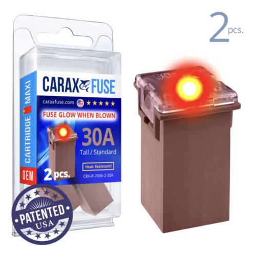 CARAX Glow Fuse. CARTRIDGE MAXI 30A Set 2 pcs. TALL/STANDARD/FEMALE/FMX Fuse.