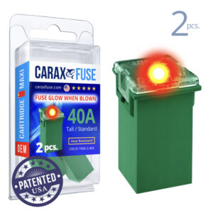 CARAX Glow Fuse. CARTRIDGE MAXI 40A Set 2 pcs. TALL/STANDARD/FEMALE/FMX Fuse.