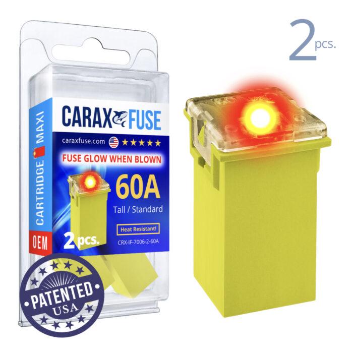 CARAX Glow Fuse. CARTRIDGE MAXI 60A Set 2 pcs. TALL/STANDARD/FEMALE/FMX Fuse.