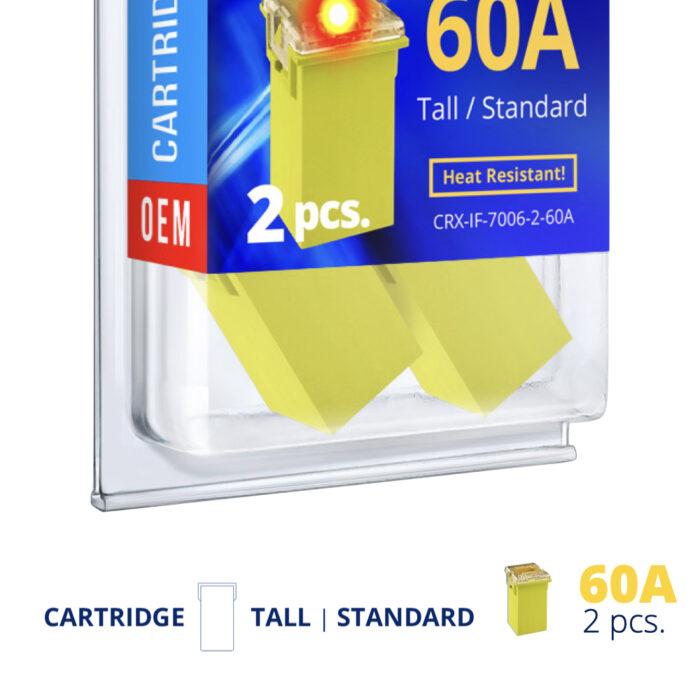 CARAX Glow Fuse. Smart CARTRIDGE MAXI Fuse 60A Set 2 pcs.