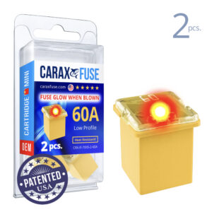 CARAX Glow Fuse. CARTRIDGE MINI 60A Set 2 pcs. LOW PROFILE/MINI/FEMALE/FMX Fuse.