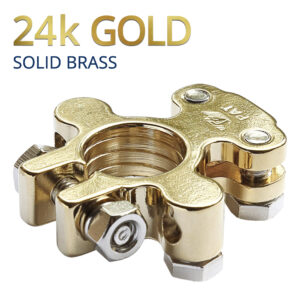 CARAX Battery Terminals Connectors - Copper Alloy/Solid Brass 24k GOLD Plated