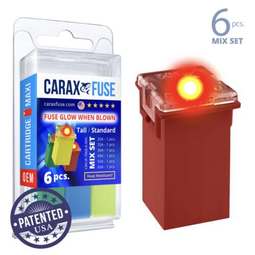 CARAX Glow Fuse. CARTRIDGE MAXI Mix Kit 6 pcs. TALL/STANDARD/FEMALE/FMX Fuse.