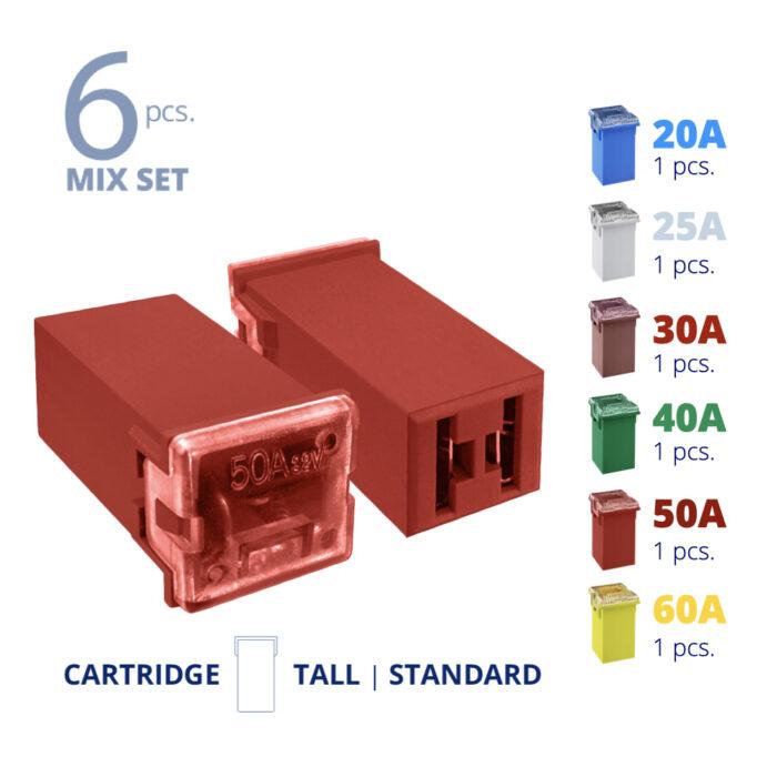 CARAX Glow Fuse. Smart CARTRIDGE MAXI Mix Fuse 6 pcs.: 20A, 25A, 30A, 40A, 50A, 60A