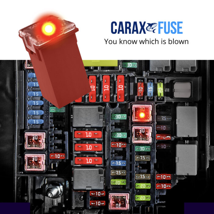 CARAX Glow Fuse. Smart Automotive CARTRIDGE MAXI Fuse. Easy Identification LED Light Fuse