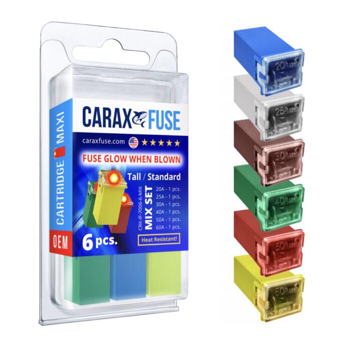 CARAX Glow Fuse. CARTRIDGE MAXI Fuse Mix Kit 6 pcs. Automotive Indicator Smart Fuse.