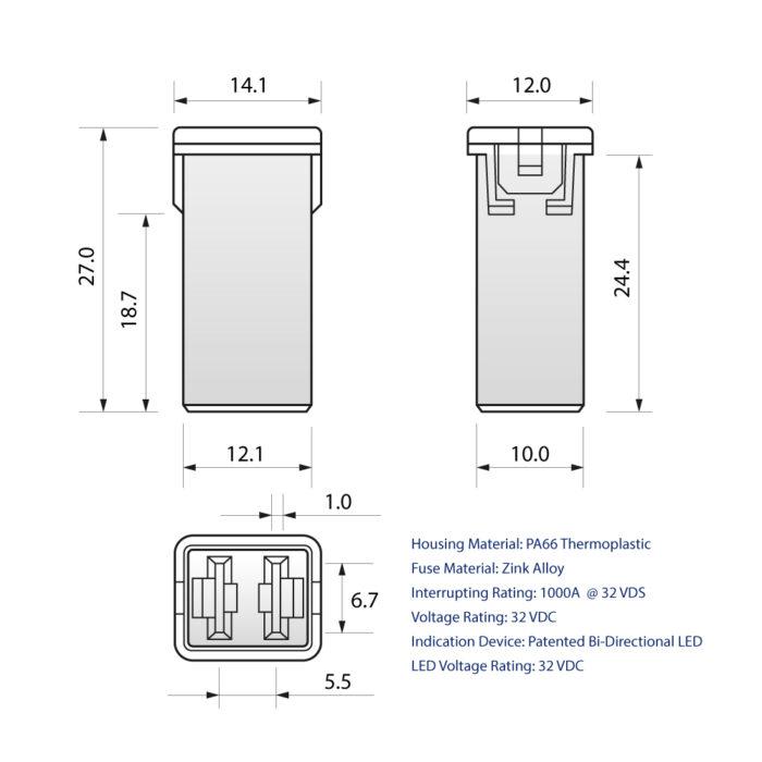 CARAX Glow Fuse. CARTRIDGE MAXI Fuse Drawing. Automotive Smart LED Glow Fuse