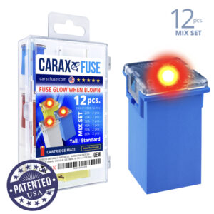 CARAX Glow Fuse. CARTRIDGE MAXI Mix Kit 12 pcs. TALL/STANDARD/FEMALE/FMX Fuse.