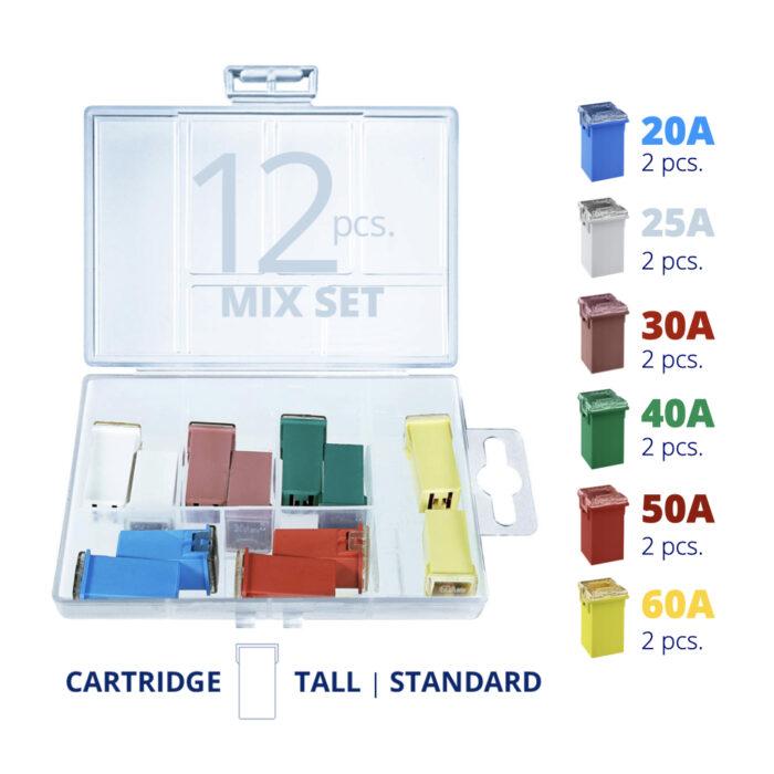 CARAX Glow Fuse. Smart CARTRIDGE MAXI Mix Fuse 12 pcs.: 20A, 25A, 30A, 40A, 50A, 60A