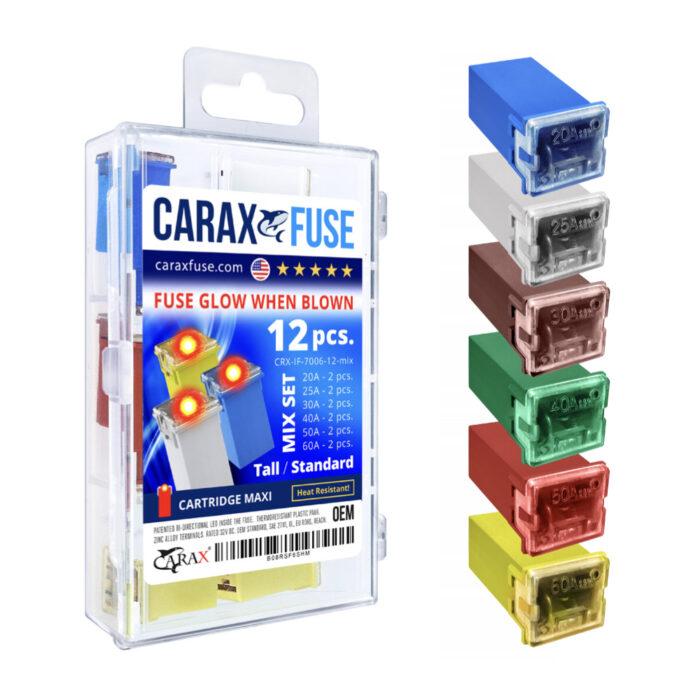 CARAX Glow Fuse. CARTRIDGE MAXI Fuse Mix Kit 12 pcs. Automotive Indicator Smart Fuse.