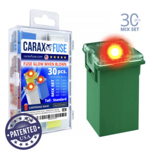 CARAX Glow Fuse. CARTRIDGE MAXI Mix Kit 30 pcs. TALL/STANDARD/FEMALE/FMX Fuse.