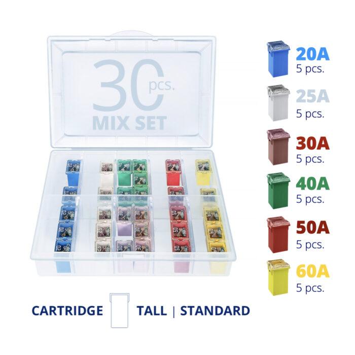 CARAX Glow Fuse. Smart CARTRIDGE MAXI Mix Fuse 30 pcs.: 20A, 25A, 30A, 40A, 50A, 60A